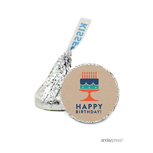 Andaz Press Chocolate Drop Labels Stickers, Birthday, Cake with Candles Kraft Style, 216-Pack, For Husband, Boyfriend, Coworker, Hershey's Kisses Party Favors, Gifts, Decorations