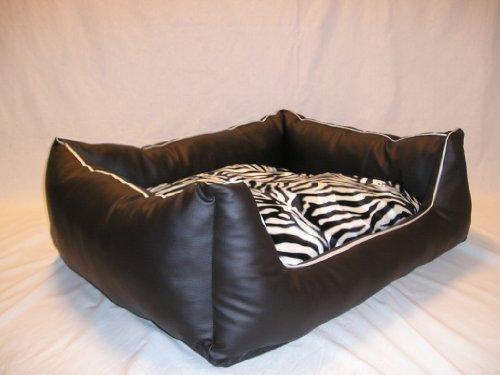 3 Tlg.Set Hundebett Matratze Kunstleder Kissen separat nutzbar 120 cm X 100 cm schwarz zebra