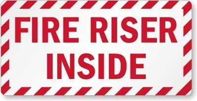 EHAKB Stylish Aluminum Sign, Legend Fire Riser Inside, 8