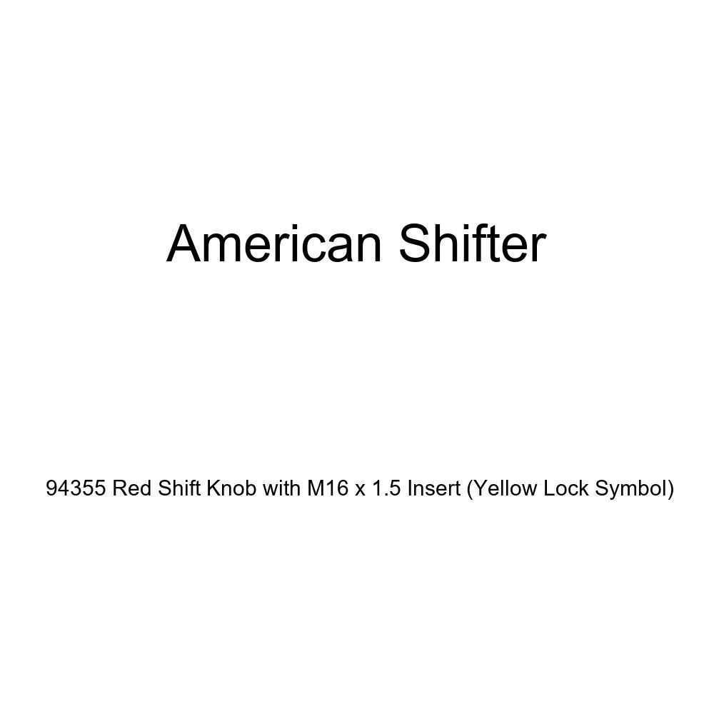 American Shifter 94355 Red Shift Knob with M16 x 1.5 Insert Yellow Lock Symbol