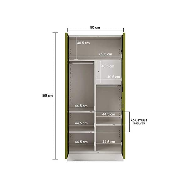 GODREJ INTERIO Slimline 2 Door M2 Steel Almirah Locker, Tex Green Leaf 2021 August Dimension ( W xH xD): 90 x 195 x 50.7 CM / Warranty : 1 Year The furniture with which you furnish your home reflects your style and sensibilities. The sleek Slimline Wardrobe adds style points to your bedroom. CRCA Steel has stood the test of time and durability. This is why the Slimline Wardrobe excels in both, giving a piece that is strong and long-lasting.