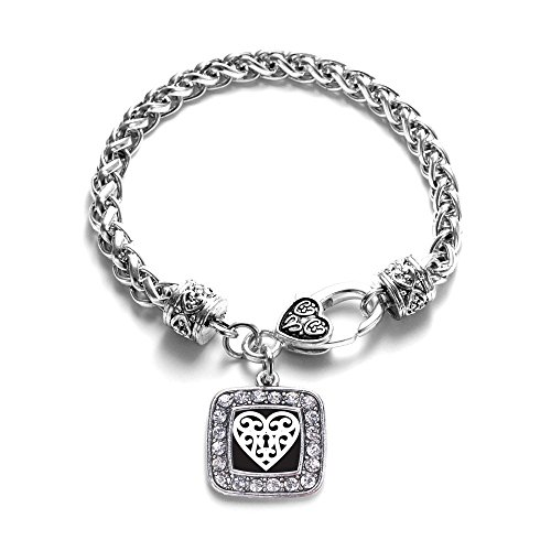 (Heart Shaped Lock Classic Braided Classic Silver Plated Square Crystal Charm Bracelet)