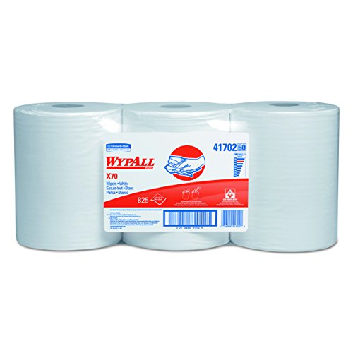 WypAll X70 Extended Use Reusable Wipers (41702), Center Pull Roll, Long Lasting Performance, White, 3 Rolls, 275 Sheets / Roll (Industrial Wiper Center Pull)