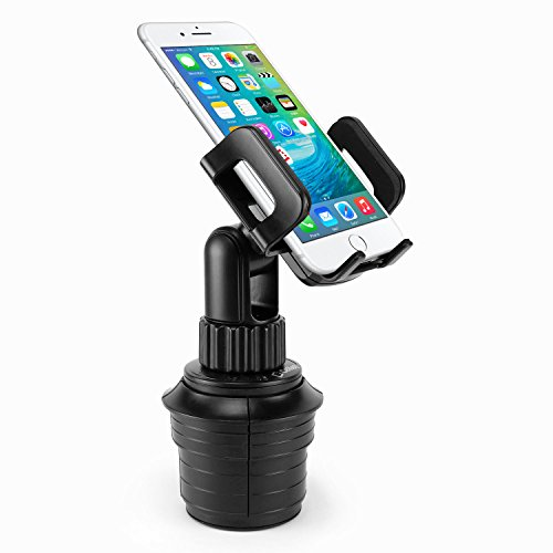 "Car Cup Holder Mount Cradle for iPhone X/8/8 Plus, iPods, Samsung Galaxy S8/ S8 Plus Note 8, MP3 Players, GPS Systems - Fits Mobile Devices Up To Widths Of 3.5""- - System Mobile Gps"