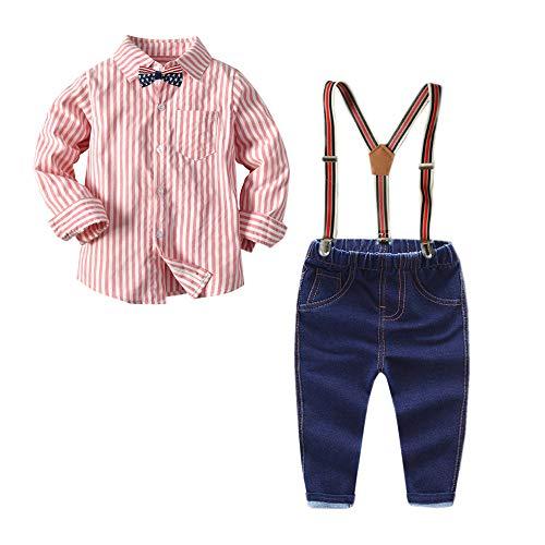 (Carlstar Little Boys Gentleman Outfit Suits,Jeans Pants Sets Long Sleeves Button Down Plaid Shirt+Suspender Denim Pants+Bow Tie 4Pcs (Pink&White, 4-5Y/110))