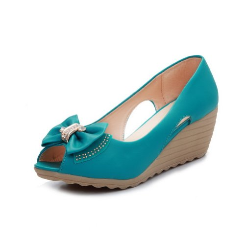 VogueZone009 Womens Open Peep Toe Kitten Heel Wedges PU Soft Material Solid Pumps with Bowknot and Metal Turquoise