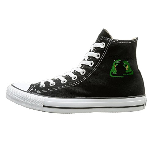 Crocodile High Top - Shenigon Funny Alligator Talking To Crocodile Canvas Shoes High Top Design Black Sneakers Unisex Style 38