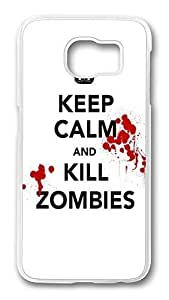 Brian114 Case, S6 Case, Samsung Galaxy S6 Case Cover, A Keep Calm Kill Zombies Retro Protective Hard PC Back Case for S6 ( white ) by kobestar