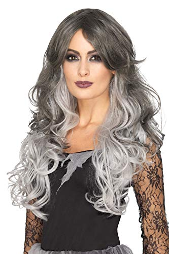 Smiffys Women's Deluxe Gothic Bride Wig, Grey, One Size]()