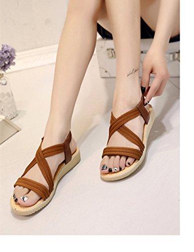Sandalias del Verano Open Toe Plano Correa Cruzada Zapatillas para Mujer Negro Azul Marrón Rojo Beige 35-41 Marrón