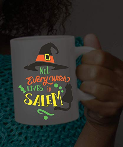 Dozili GLOW IN the DARK Halloween Mug Not Every Witch Lives in Salem Glowing Witch Cup Florescent Glows in Dark Witch Mug Funny Halloween Mug, 11 Oz, White]()