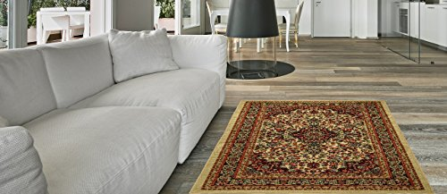 Maxy Home Anti-Bacterial Rubber Back AREA RUGS Non-Skid/Slip 3x5 Floor Rug | Ivory Traditional Floral Indoor/Outdoor Thin Low Profile Living Room Kitchen Hallways Home Decorative Traditional Rug by Maxy Home