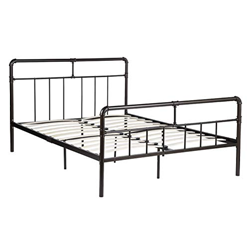 GreenForest Bed Frame Queen Size Metal Platform Bed with Wood Slats Support Mattress Foundation Queen Reinforced Bed with Headboard No Need Box Spring, Bright Dark Gold