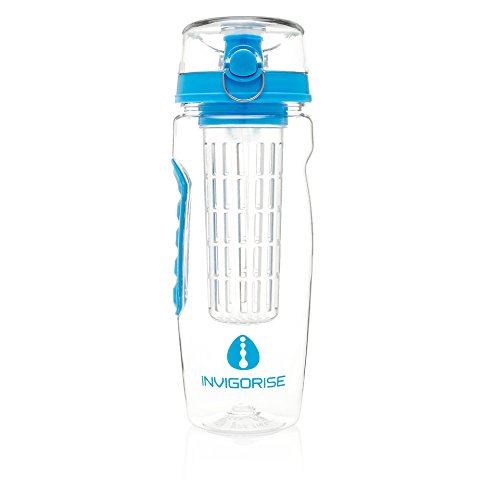 Infuser Water Bottle By Invigorise - Blue, Large 32oz, Durable Tritan Design. Enjoy Pure Fruit Flavor At Home, the Gym, Office, Outdoors or Playing - Raben Glasses