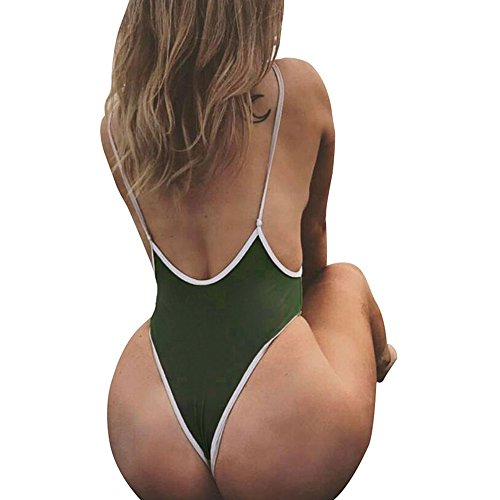 18d714e6df9c4 CROSS1946 Sexy Womens Monokini Deep V One Piece Backless Cheeky Swimwear  Semi Thong Bikini