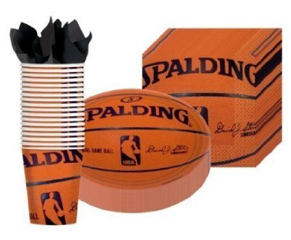 Spalding Basketball - Party Supplies Pack Including Plates, Cups, and Napkins- 18 - Basketball Party Cups