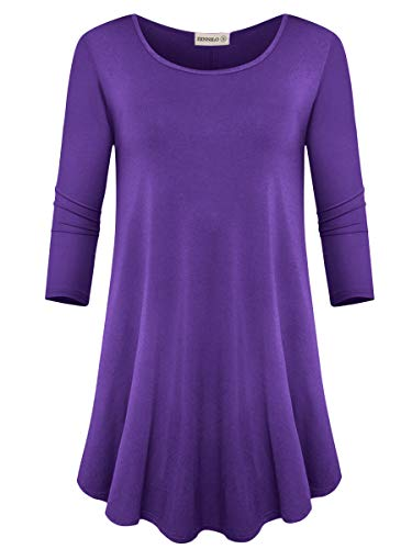 ZENNILO Womens 3/4 Sleeve Loose Fit Swing Tunic Tops Basic T Shirt (Deep Purple, 3X)