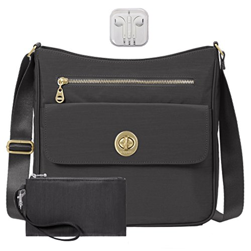 Baggallini Antalya Top Zip Flap Crossbody Bag Bundle with complimentary Travel Earphones (Charcoal)