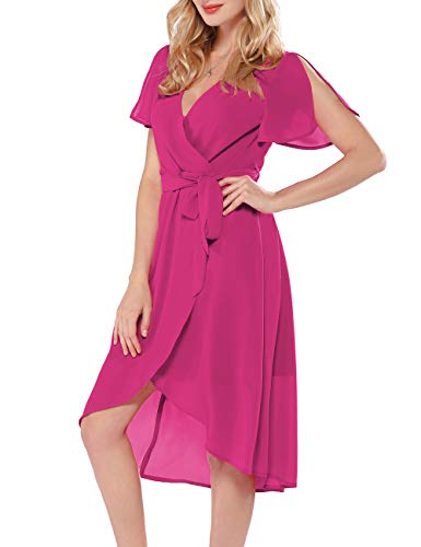 Azalosie Women Wrap Midi Dress V Neck Short Sleeve Tie Waist High Low Flowy Slit Dress Summer Beach Wedding Maxi Dress Rose Red