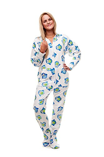 Kajamaz Night Owl: Adult Footie Pajamas (Medium)