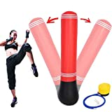 Boomer888 Inflatable Punching Bag Strength Training Stand Speedbag Boxing Workout Fitness Gym Toy Kick Air Gift for Kids Bright Color Red and Black High 64.35 inches Exercise Accessory Indoor Outdoor