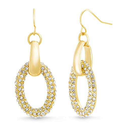 (Catherine Malandrino Pavé Rhinestone Interlocked Oval Link Yellow Gold -Tone Dangle Drop Earrings for Women on French Wire)