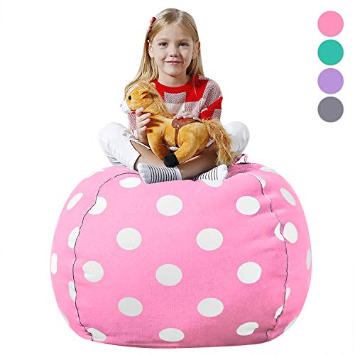 Aubliss Stuffed Animal Bean Bag Storage Chair, Beanbag Covers Only for Organizing Plush Toys, Turns into Bean Bag Seat for Kids When Filled, Premium Cotton Canvas, 38