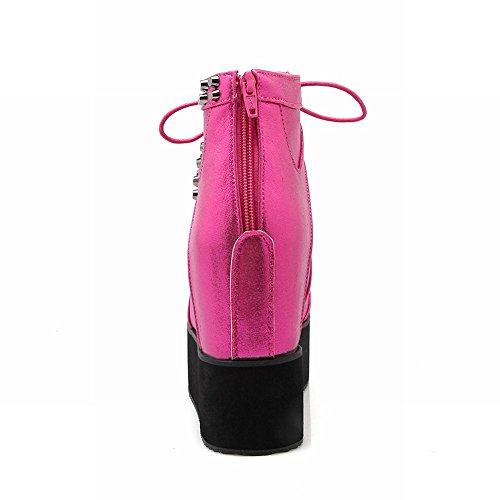 Latasa Mode Féminine Lacet Plissée Plateforme À Lintérieur Wedges Bottes Rose Rouge