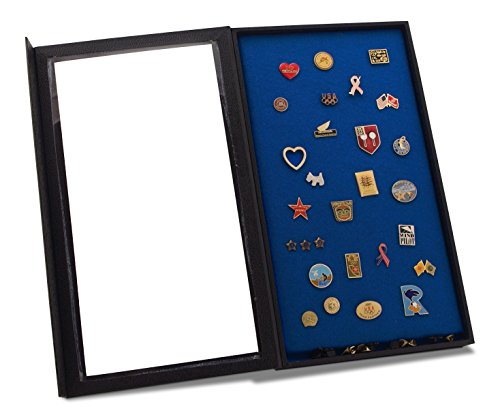 Pin Collector's Display Case - for Disney, Hard Rock, Olympic, Political Campaign & other collectible pins and medals - holds up to 100 pins - felt-covered backing, compact, handy magnetic - Button Pin Olympic