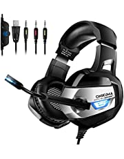 ONIKUMA PS4 Headset, Gaming Headset with Microphone Xbox One Headset【7.1 surround】+ 60mm Drivers + Noise Canceling Mic Over-Ear Gaming Headphones for PS4 New Xbox One Laptop Mac Nintendo Switch