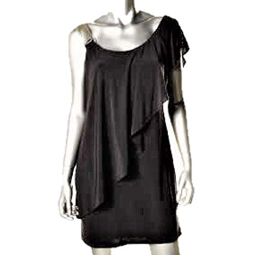 Betsy & Adam Women's Black Matte Jersey Stretch One-Shoulder Ruffled Dress SZ 12P New with Tags