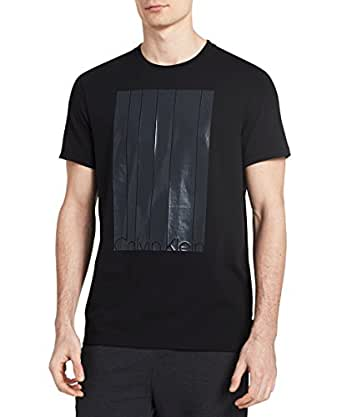 Calvin Klein Men's Short Sleeve Mesh Stripe Logo Crew Neck T-Shirt, Black, X-SMALL