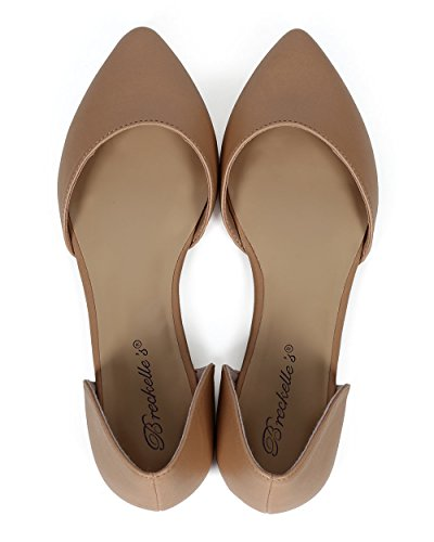 Breckelles CE02 Women Leatherette Pointy Toe DOrsay Classic Slip on Flat - Natural Leatherette WLt49K8