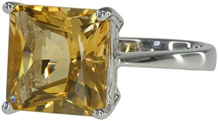Citrine Gemstone 4.33 carat Square 10mm Sterling Silver Ring