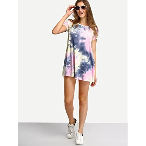 7eb724534 ROMWE Women's Short Sleeve Summer Casual Tie Dye T-Shirt Dress 30%OFF