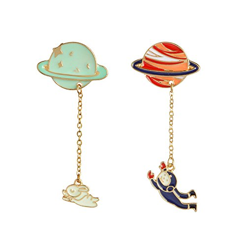 (Fashion Cartoon Enamel Brooch Pins Set for Unisex Child Women's Clothing Decorate (Rabbit Pilot Pendant Set))