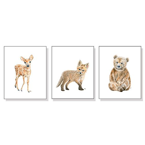 Woodland Nursery Decor, Woodland Nursery Wall Art Prints Set of 3, Baby Animal Watercolors, Childrens Room Girls Boys, Forest Bear Deer - Mail Priority Usps International