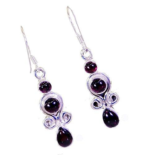 Real Garnet Earring For Women Gift 925 Silver January Birthstone Fashion Jewelry Pear Shape Cabochon Cut