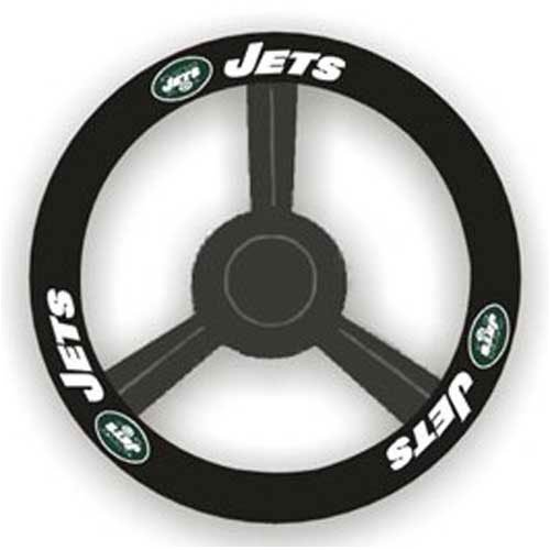 Fremont Die NFL New York Jets Leather Steering Wheel Cover, Black, One Size