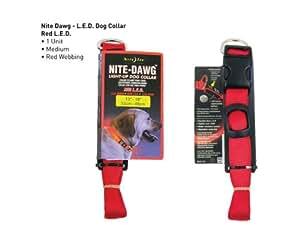 Nite Ize Nite Dawg LED collar para perros (Tamaño Mediano), color rojo
