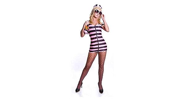 Details about  /Prison Stripes M Costume Dress V Neck Long Sleeve Inmate Jail Break Euc Lkn