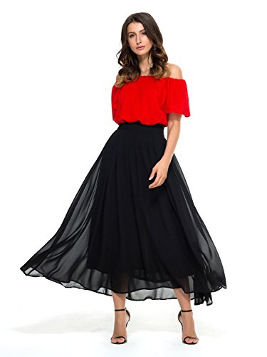 Persun Women's High Waist Long Length Overlay Chiffon Skirt,Black,Medium,,