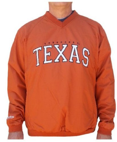 Jacket Wind Pullover College (Texas Longhorns Mens Coaches Embroidered V-Neck Pullover Wind Jacket (XL=48))