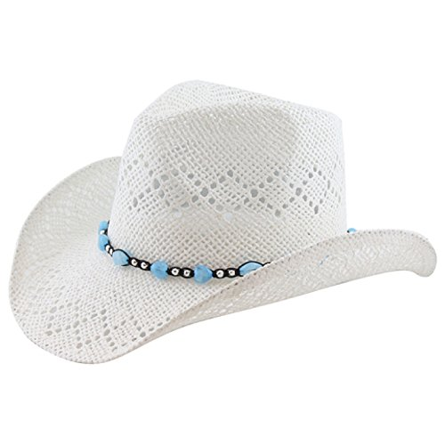 Country Straw Shapeable Cowboy Hat w/ Beads, White