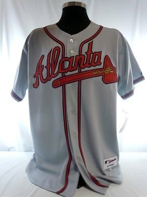 Atlanta Braves Authentic Majestic Grey Road Jersey w/ 40th Anniversary Patch B Braves Majestic Grey Road Jersey
