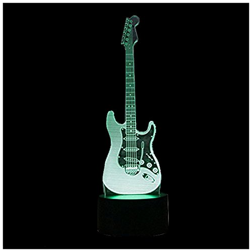 TOOGOO(R) New 3D Electric Guitar Night Light 7 Color LED Change Touch Switch Table Desk Lamp Art Light Christmas Gift Valentines Kids Gifts Decoration ()