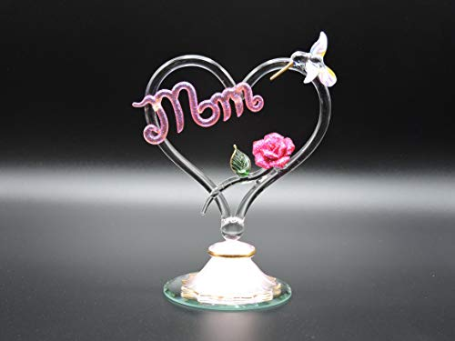 Handmade Blown Glass Heart and Hummingbird with Porcelain Red Rose - Heart and Roses for Mom