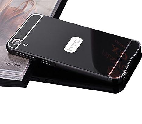 Funda estilo espejo para HTC Desire 820. Juego de accesorios de lujo vandot, hechos de aluminio: marco frontal paragolpes + Carcasa trasera rígida con ...
