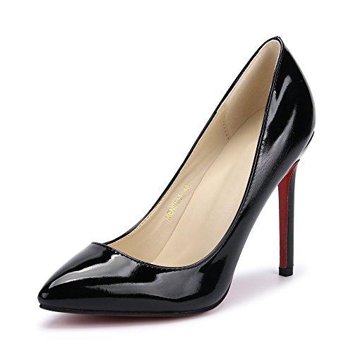 OCHENTA Mujer Atractivos Bombas PU Cerrado dedo del pie Zapatos de Tacón  Alto negro 022b3bcfbb0a