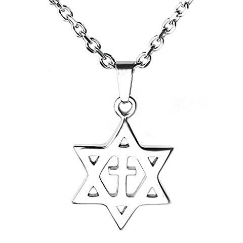 JOVIVI Mens Stainless Steel Star of David with Cross Pendant Necklace, Silver Color, 24 inch Chain (Star Of David Silver Pendant)
